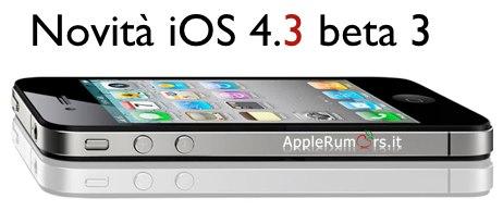 novità iOS 4.3 beta 3