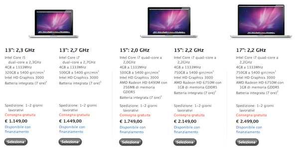 prezzi macbook pro 2011