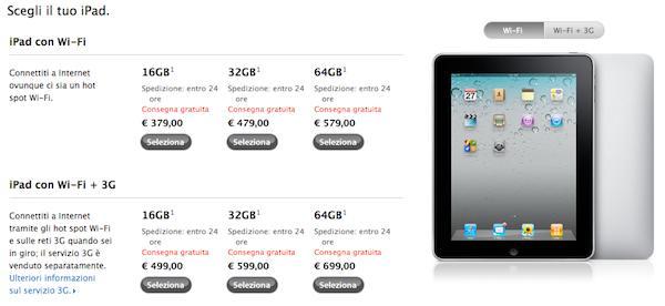 prezzi dell'iPad 2010