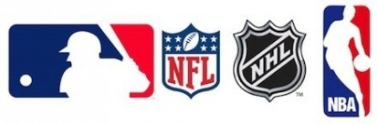logo MLB, NBA, NHL e NFL