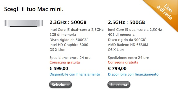 prezzi mac mini 2011