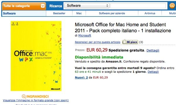 Microsoft Office 2011 per Mac amazon