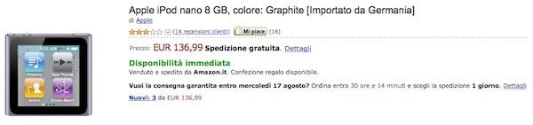 iPod nano 6G da Amazon a 136 €