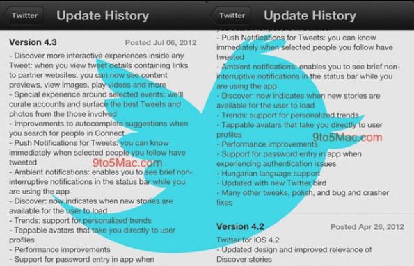 aggiornamento twitter applicazione iphone
