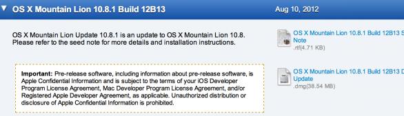 release 12B13 mountain lion 10.8.1
