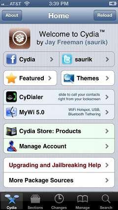 schermata cydia su iphone 5