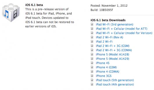 iOS 6.1 Beta 1