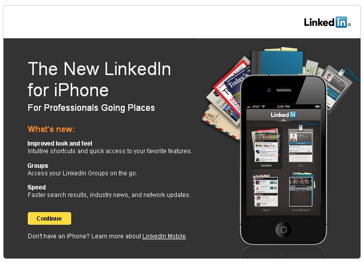 linkedin iphone app ios 7