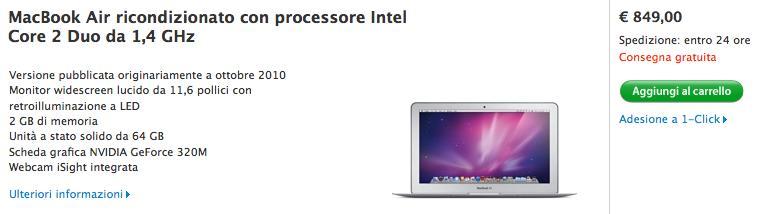 MacBook Air 11,6 pollici 2010 ricondizionato