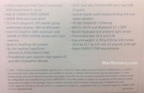 specifiche tecniche macbook 2011