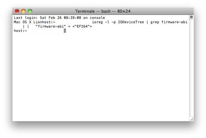 terminale mac per scoprire architettura 64bit