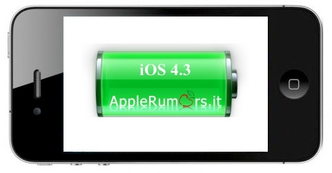 iphone 4 ios 4.3 batteria