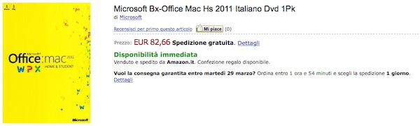 Sconto Office 2011 per Mac su Amazon