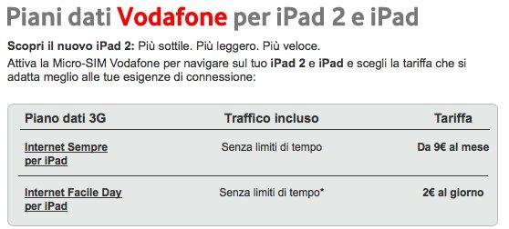 iPad 2, tariffe per la connesione ad internet di H3G, Tim e Vodafone