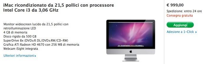 iMac 21.5 pollici ricondizionato a 999 €