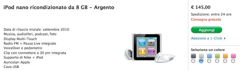 iPod nano 8 GB ricondizionato al prezzo di 149 €
