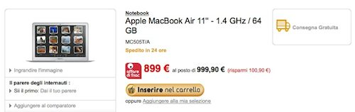Offerte Mac: Macbook Air a 899 € da Fnac