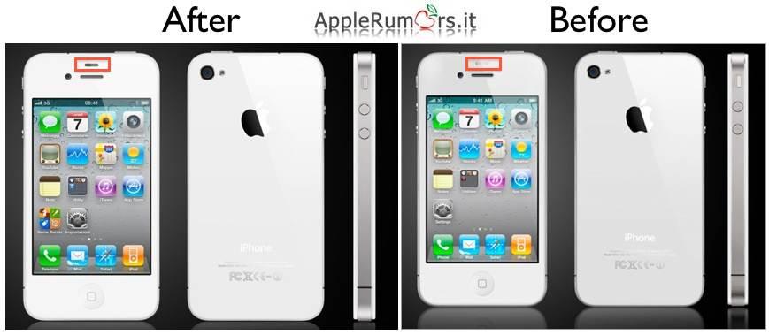 Apple modifica il sensore di prossimità nell'iPhone 4 bianco anche nell'immagine