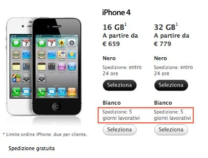 consegna iphone 4 bianco