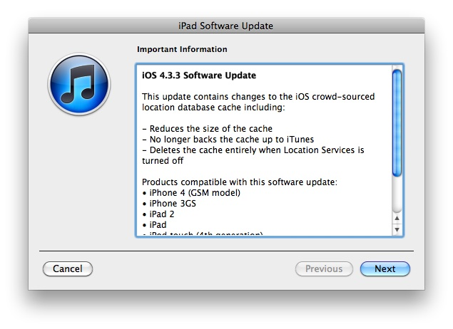 Apple rilascia iOS 4.3.3 per iPhone, iPod Touch e iPad