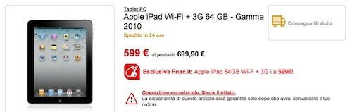 Offerte iPad: Da Fnac iPad 3G 64GB al prezzo di 599 €