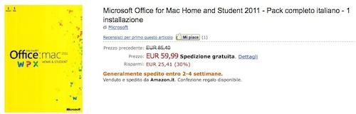 Offerta imperdibile: Microsoft Office 2011 su Amazon a 60 €