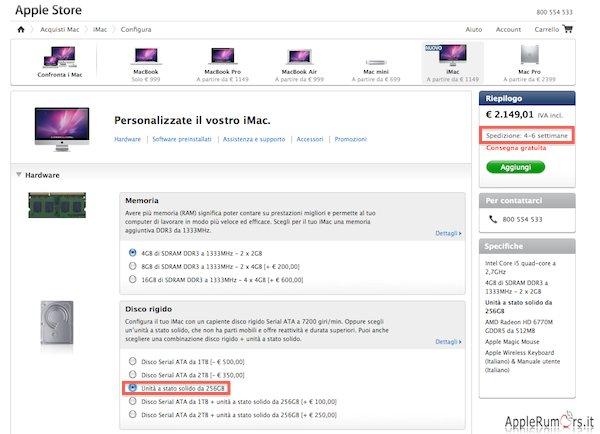 iMac 2011 con SSD, spedizione 4-6 settimane