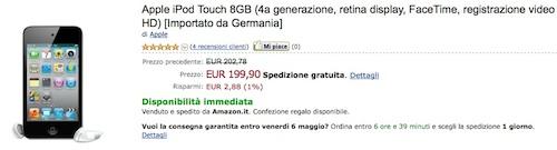 iPod touch 4G su Amazon a soli 199 €
