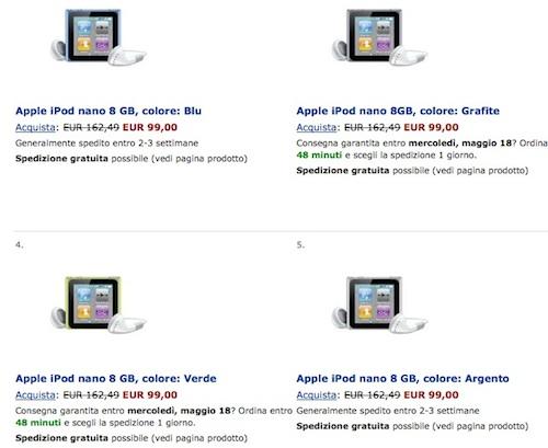 iPod nano 8 GB da Amazon a 99 € in tutte le colorazioni