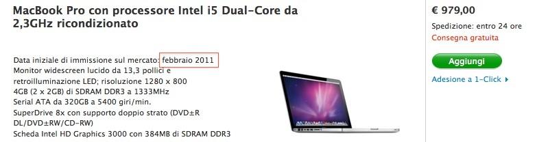 Macbook Pro 2011 ricondizionato scontato di 170 €