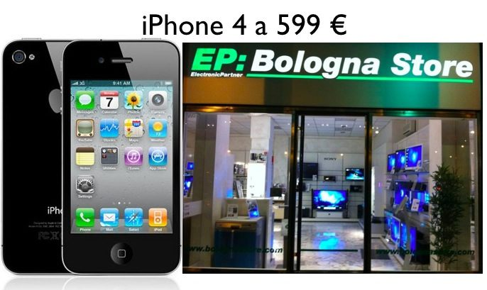 Offerte: iPhone 4 16 GB a 599 € all'EP Bologna Store