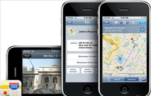 apple google maps iphone