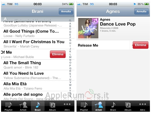 IOS 5 cancellare brani ipod