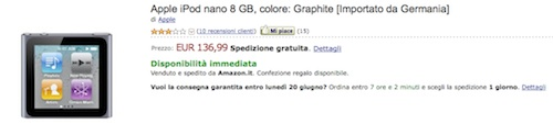 iPod nano 6G da Amazon a soli 136 €