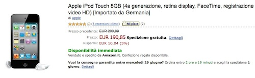 Offerta iPod touch 8GB su Amazon a 190 €