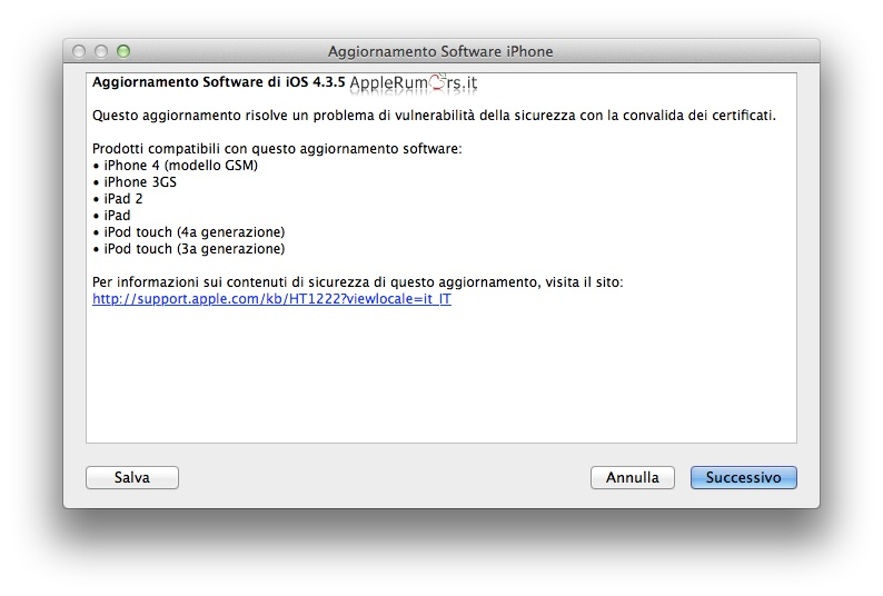 Apple rilascia iOS 4.3.5