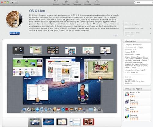 OS X Lion nel Mac App Store