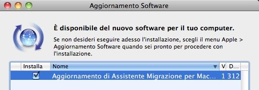 Assistente Migrazione in Mac OS X Snow Leopard