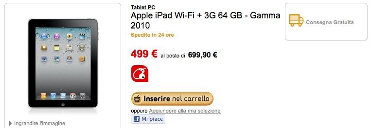 Offerta iPad: Da Fnac la versione 2010 da 64 GB 3G a 499€