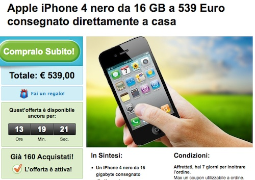 Offerta iPhone 4 a 539 € da Groupon