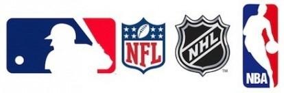 logo MLB, NBA, NHL e NFL