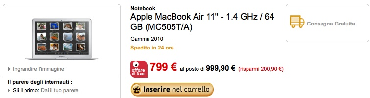 Offerte: Macbook Air 2010 a 799 € da Fnac!