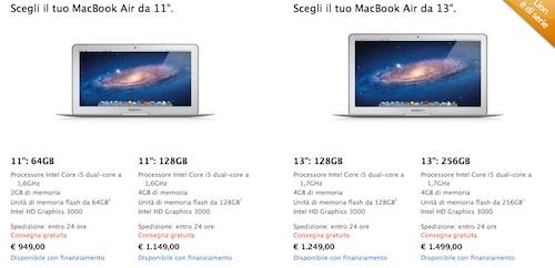 prezzi macbook air 2011