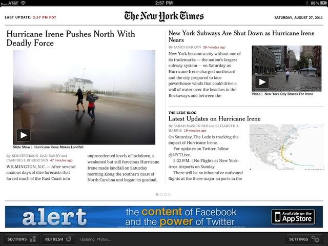 Il NY Times offre notizie gratuite circa l'Uragano Irene
