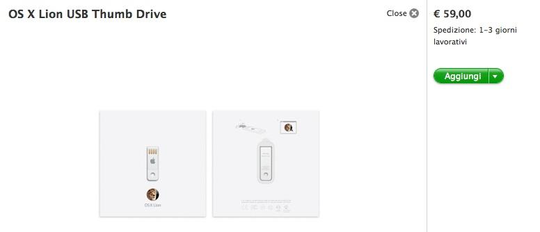 """Disponibile la Thumb Drive di OS X Lion, la chiavetta con il """"Leone"""""""