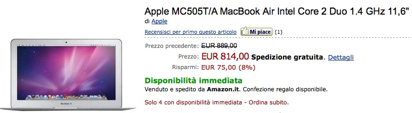 Offerte: Macbook Air 2010 da 11.6 pollici a 814 € su Amazon