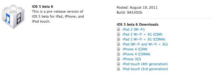 Apple rilascia iOS 5 beta 6