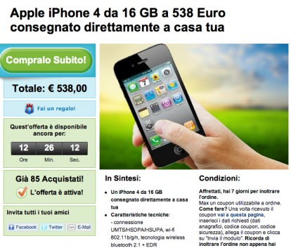 Offerte: iPhone 4 16 GB scontato da Groupon