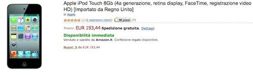 Offerte: iPod touch 4G da 8GB a soli 193 €