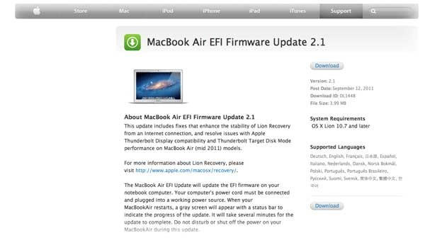 EFI Firmware per il MacBook Air 2011